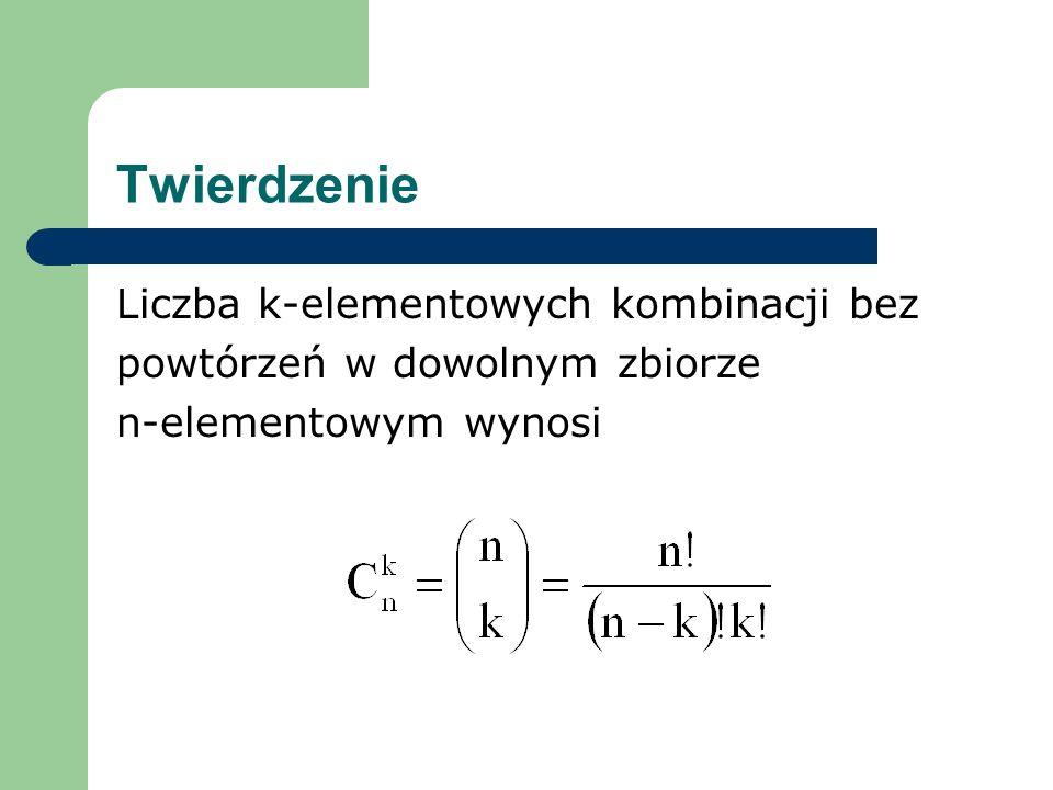 Twierdzenie Liczba k-elementowych kombinacji bez