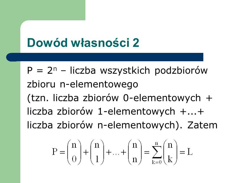 Dowód własności 2 P = 2n – liczba wszystkich podzbiorów