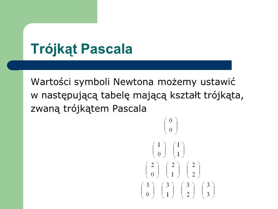 Trójkąt Pascala Wartości symboli Newtona możemy ustawić