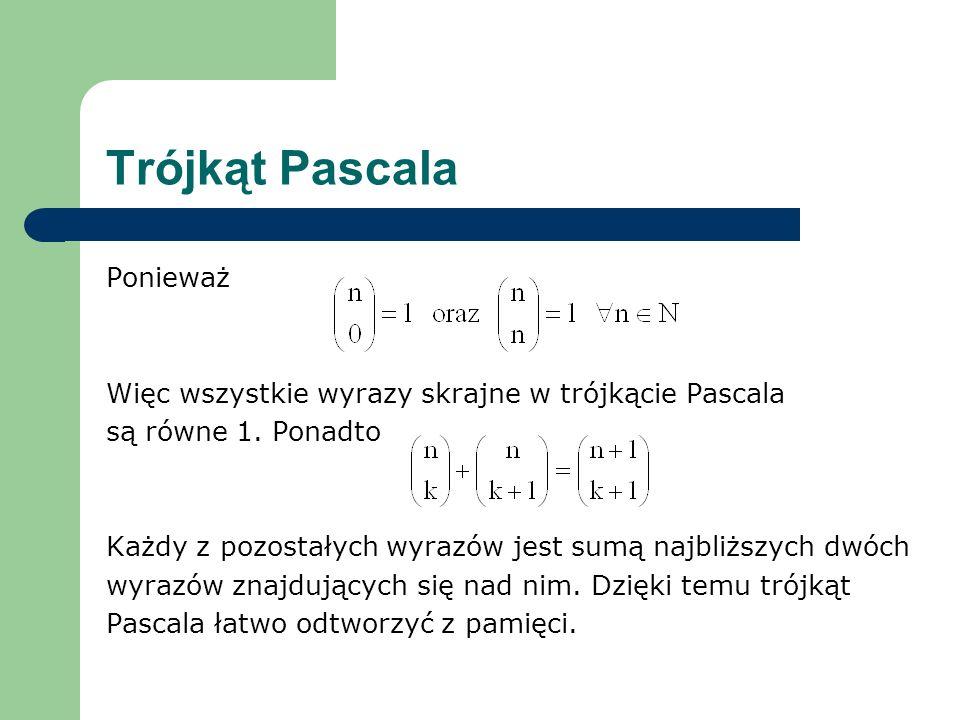 Trójkąt Pascala Ponieważ
