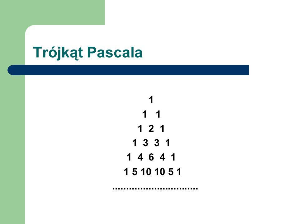 Trójkąt Pascala 1. 1 1. 1 2 1. 1 3 3 1.