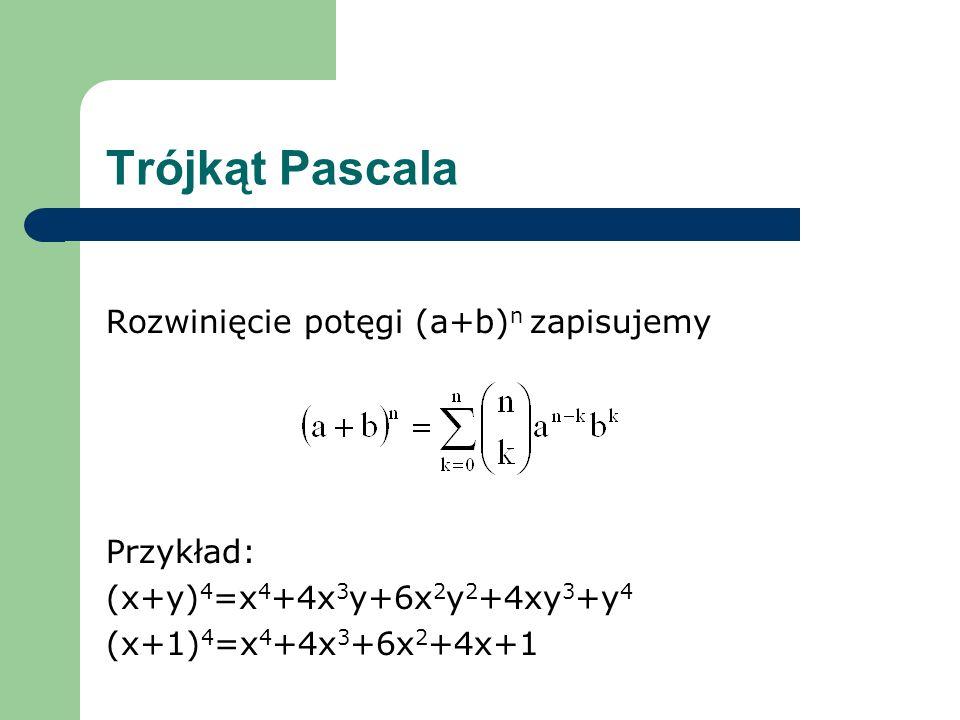 Trójkąt Pascala Rozwinięcie potęgi (a+b)n zapisujemy Przykład: