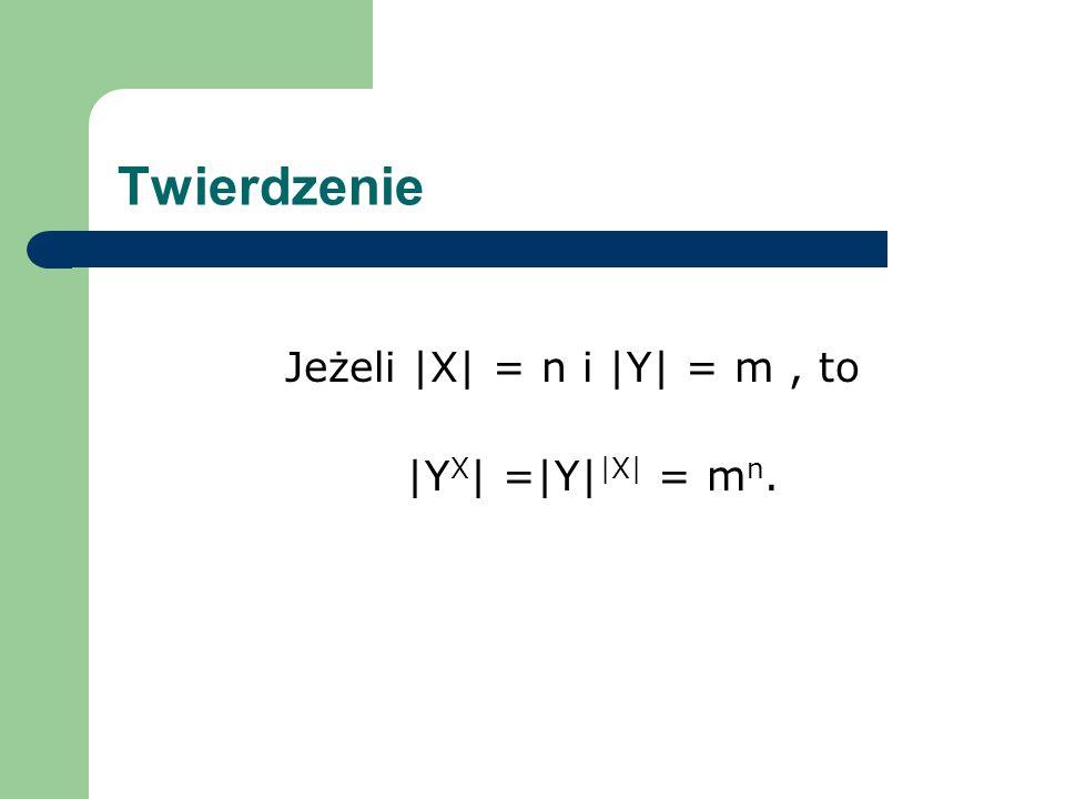 Twierdzenie Jeżeli |X| = n i |Y| = m , to |YX| =|Y||X| = mn.