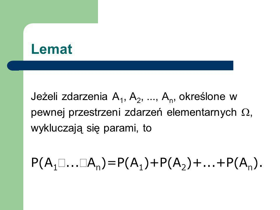 Lemat P(A1È...ÈAn)=P(A1)+P(A2)+...+P(An).