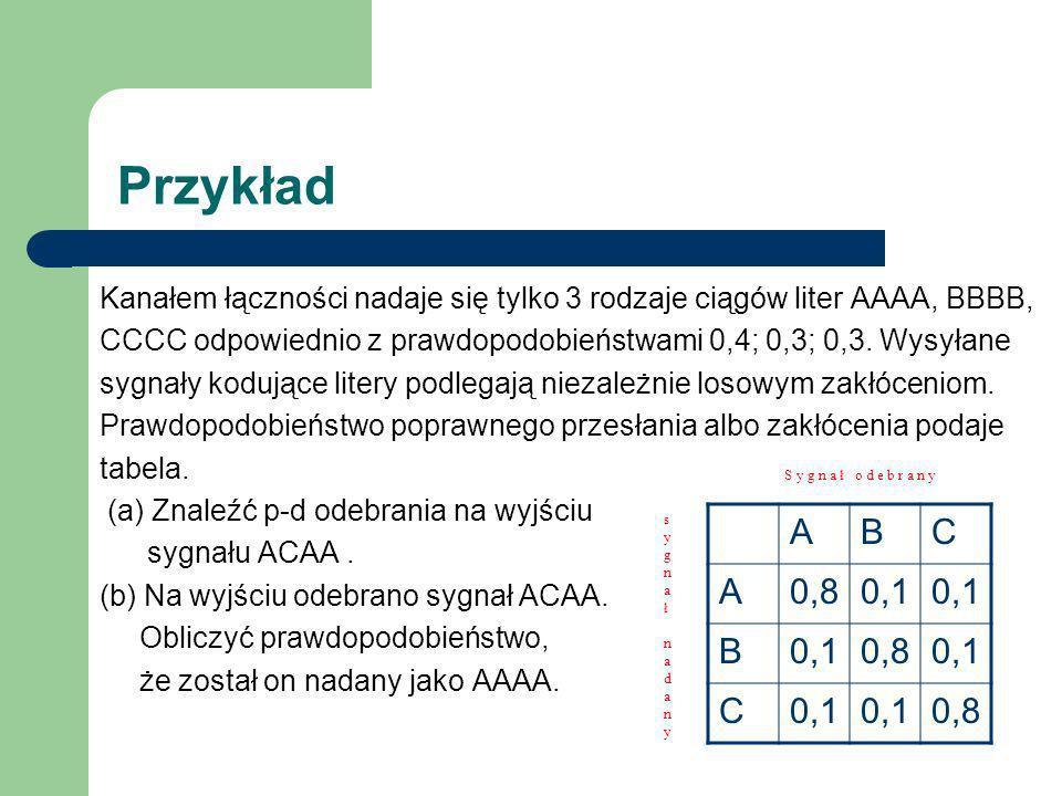 Przykład Kanałem łączności nadaje się tylko 3 rodzaje ciągów liter AAAA, BBBB, CCCC odpowiednio z prawdopodobieństwami 0,4; 0,3; 0,3. Wysyłane.