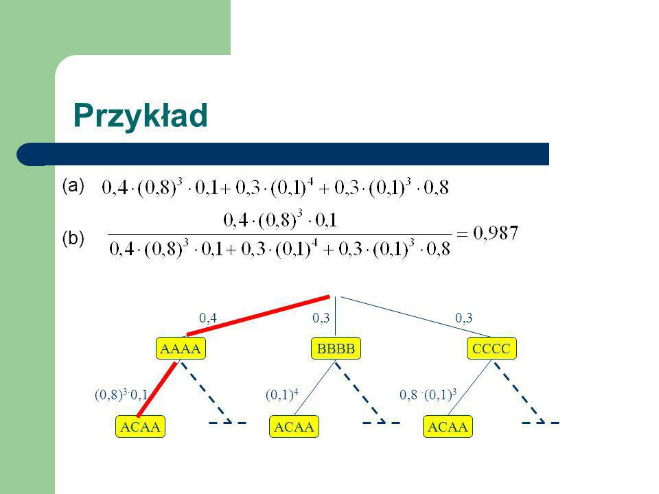 Przykład (a) (b) 0,4 0,3 0,3 AAAA BBBB CCCC