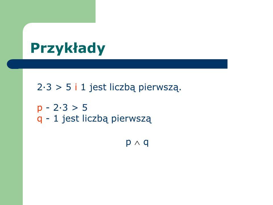 Przykłady 2·3 > 5 i 1 jest liczbą pierwszą. p - 2·3 > 5