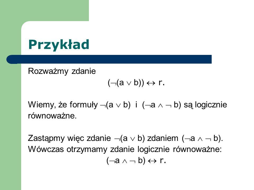 Przykład Rozważmy zdanie ((a  b))  r.