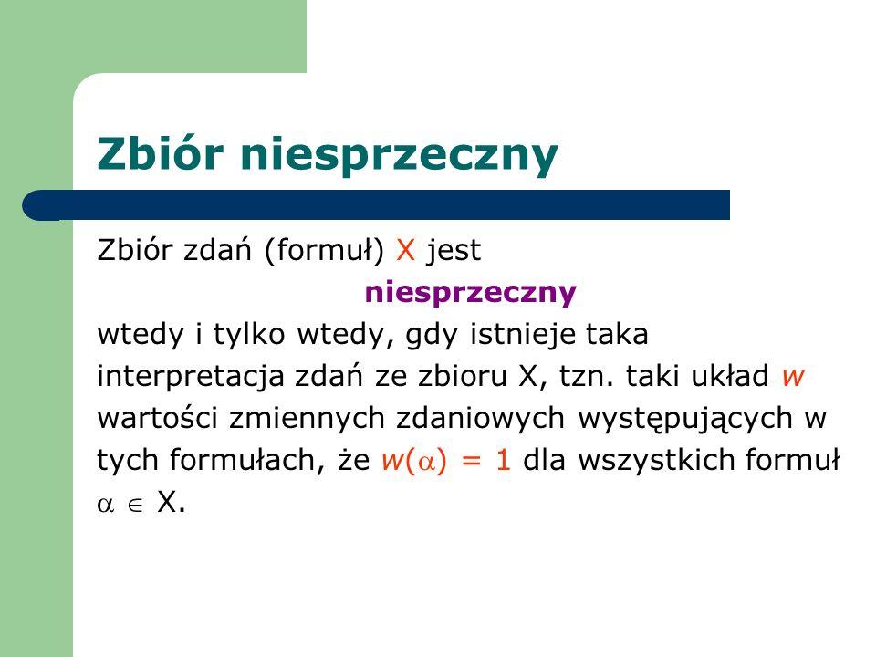 Zbiór niesprzeczny Zbiór zdań (formuł) X jest niesprzeczny