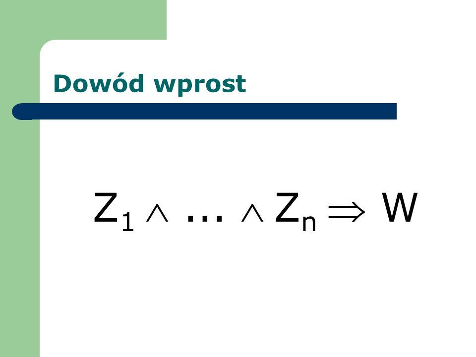 Dowód wprost Z1  ...  Zn  W