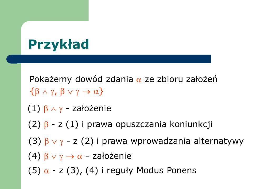 Przykład Pokażemy dowód zdania  ze zbioru założeń {  ,     }