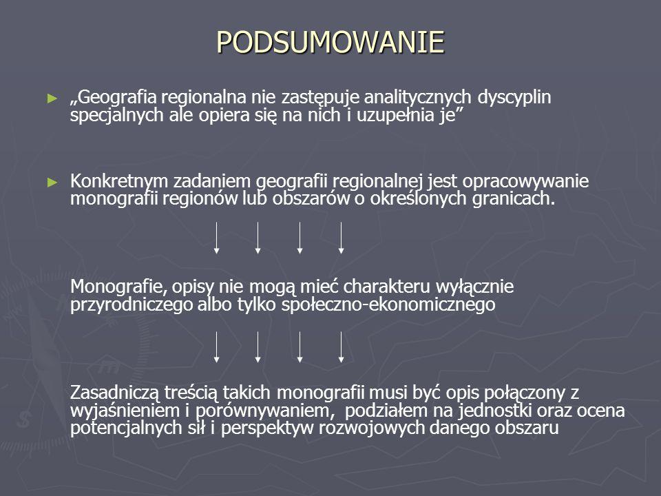 """PODSUMOWANIE """"Geografia regionalna nie zastępuje analitycznych dyscyplin specjalnych ale opiera się na nich i uzupełnia je"""