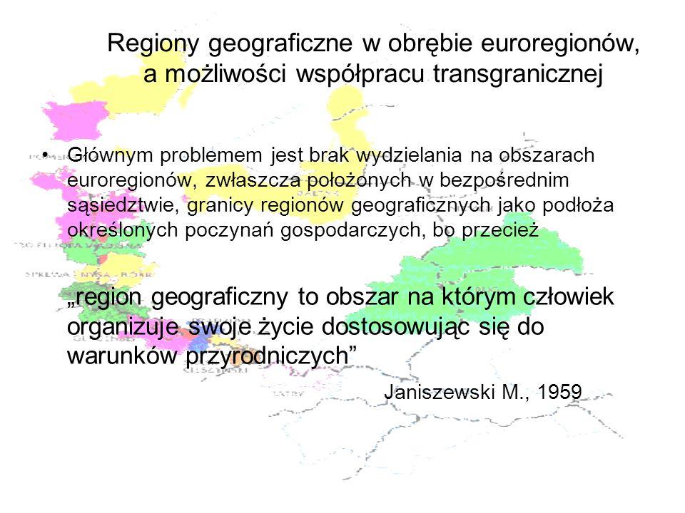 Regiony geograficzne w obrębie euroregionów, a możliwości współpracu transgranicznej