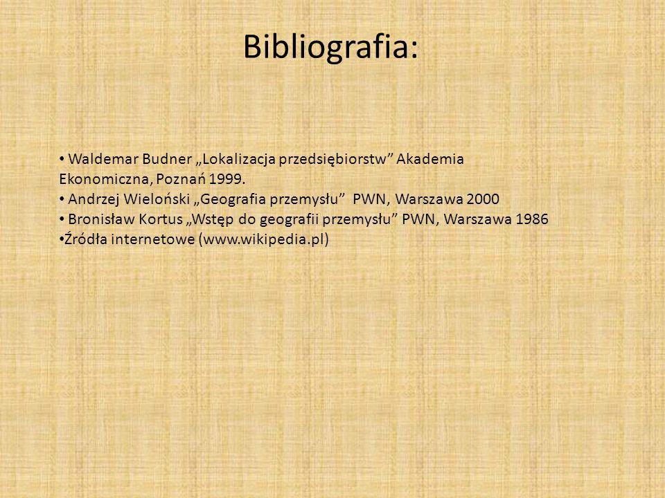 """Bibliografia: Waldemar Budner """"Lokalizacja przedsiębiorstw Akademia Ekonomiczna, Poznań 1999."""