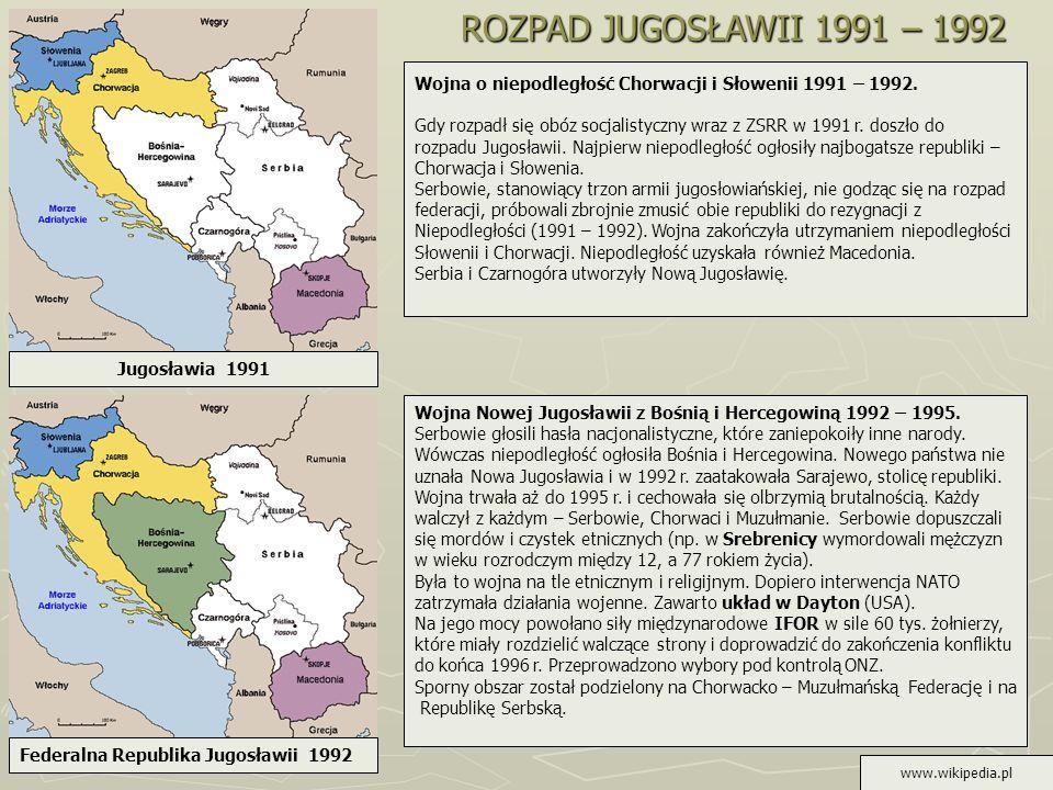 ROZPAD JUGOSŁAWII 1991 – 1992Wojna o niepodległość Chorwacji i Słowenii 1991 – 1992.