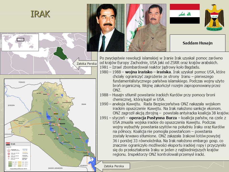 IRAK Saddam Husajn. Po zwycięstwie rewolucji islamskiej w Iranie Irak uzyskał pomoc zarówno.