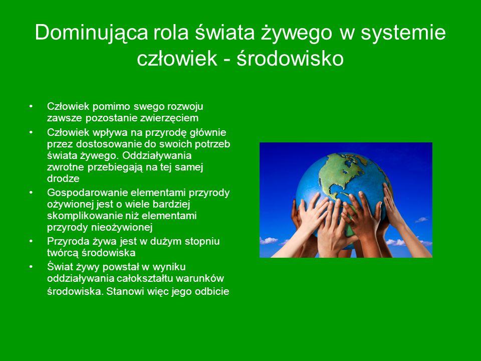 Dominująca rola świata żywego w systemie człowiek - środowisko
