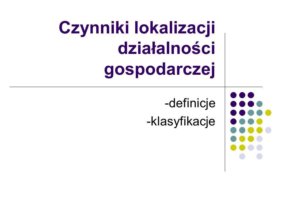 Czynniki lokalizacji działalności gospodarczej