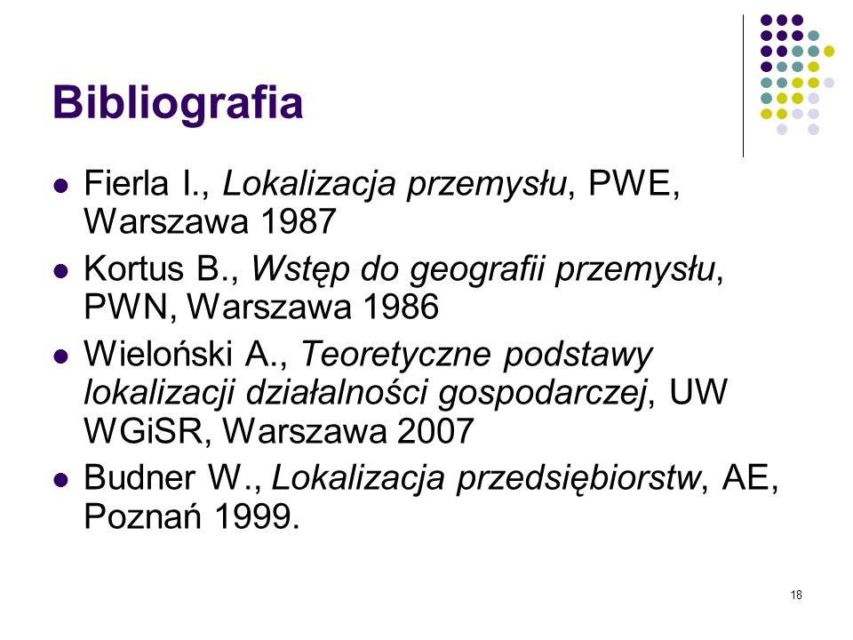 Bibliografia Fierla I., Lokalizacja przemysłu, PWE, Warszawa 1987