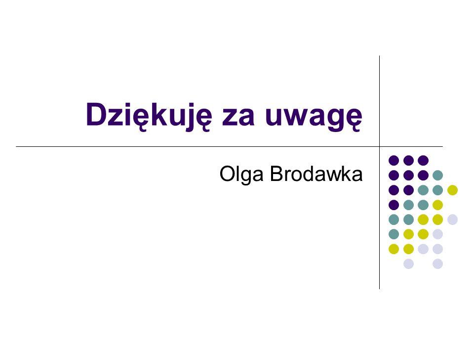 Dziękuję za uwagę Olga Brodawka