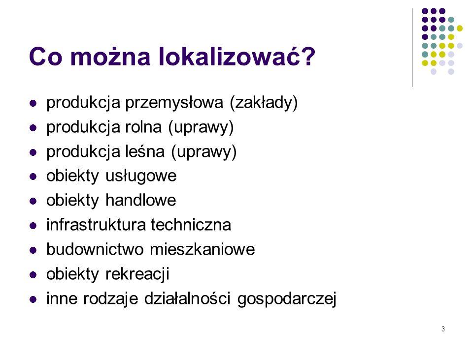 Co można lokalizować produkcja przemysłowa (zakłady)