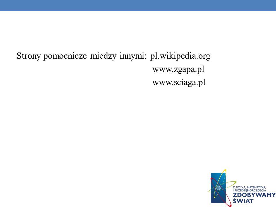 Strony pomocnicze miedzy innymi: pl.wikipedia.org