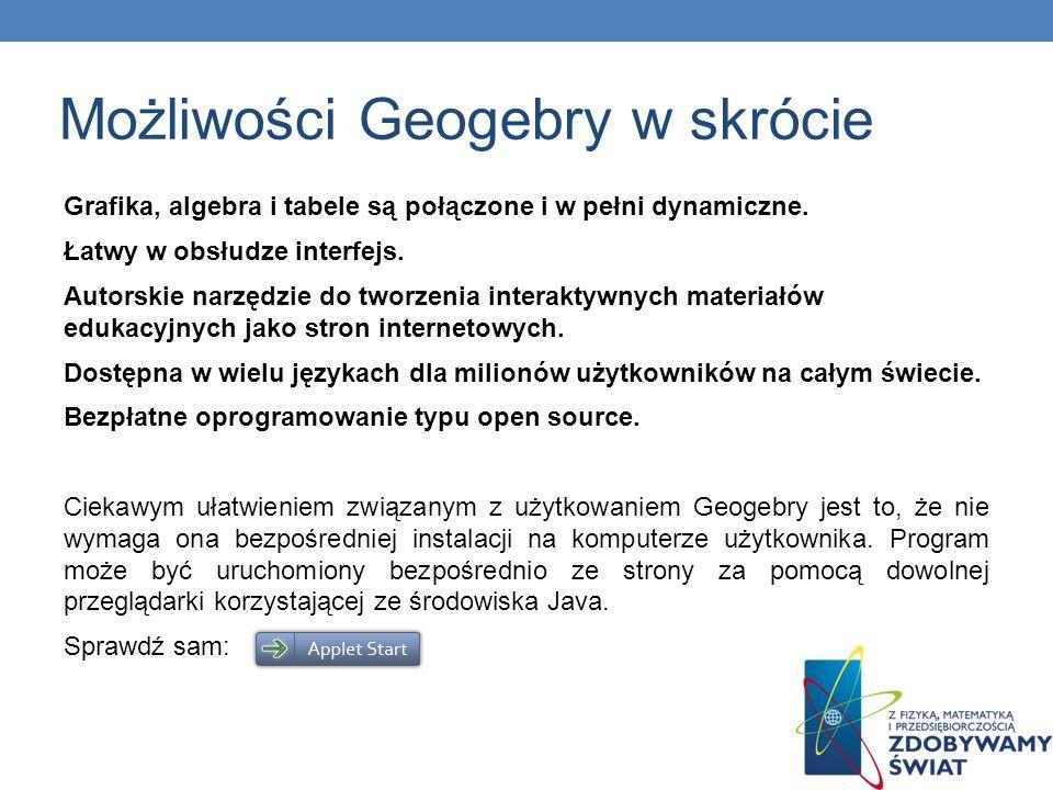 Możliwości Geogebry w skrócie