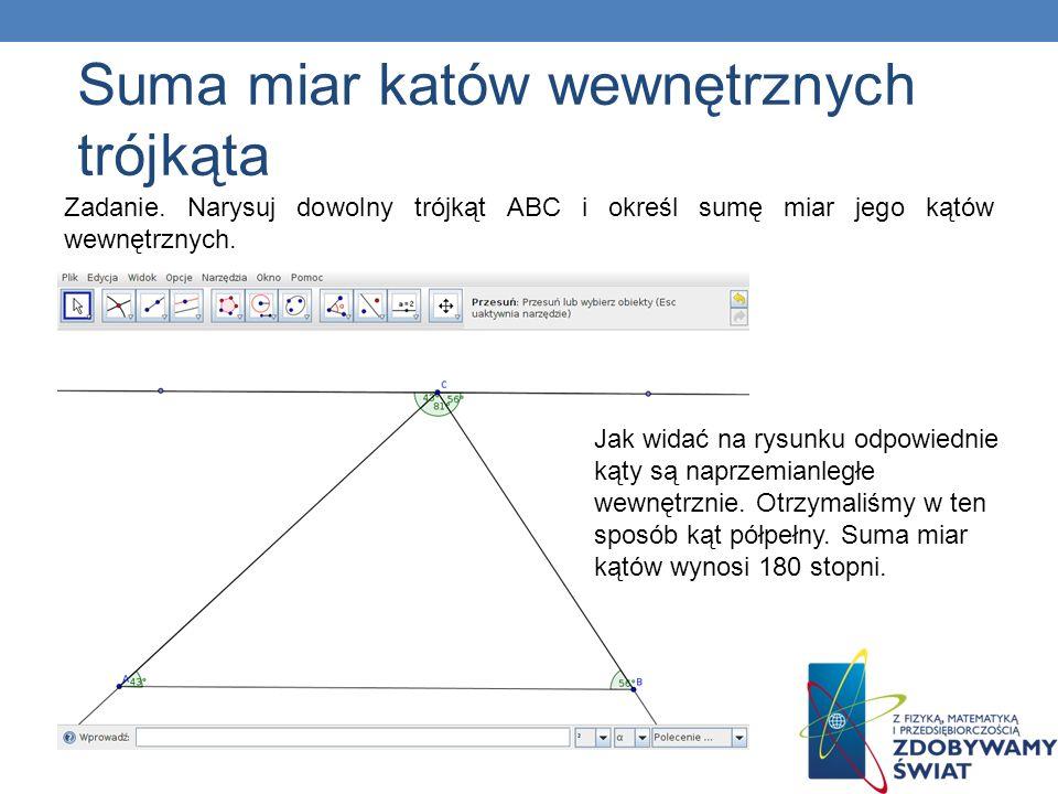 Suma miar katów wewnętrznych trójkąta