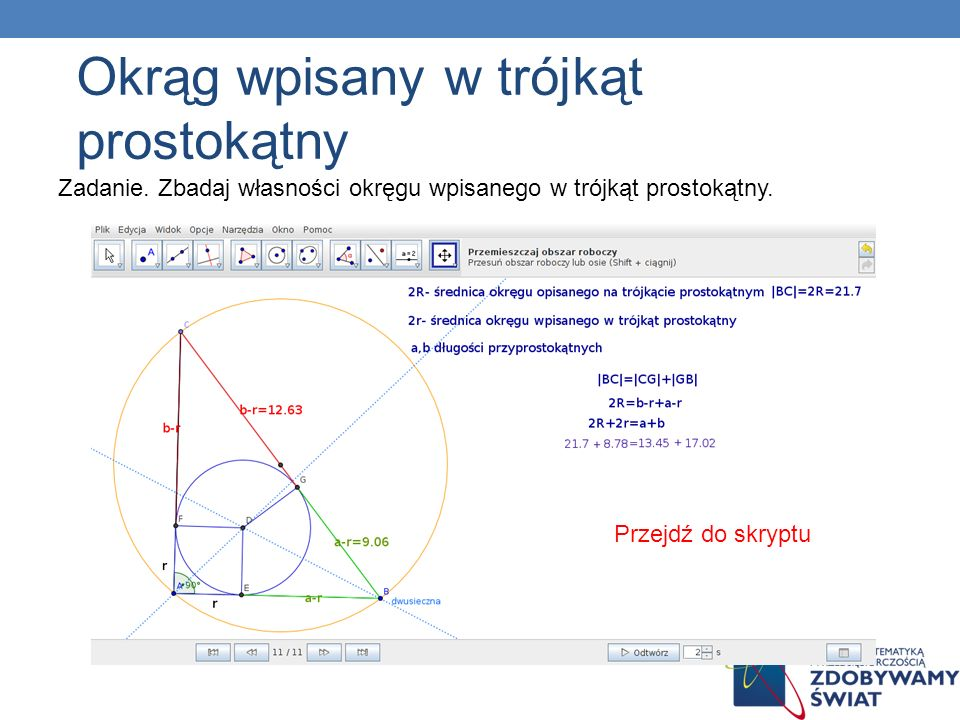 Okrąg wpisany w trójkąt prostokątny