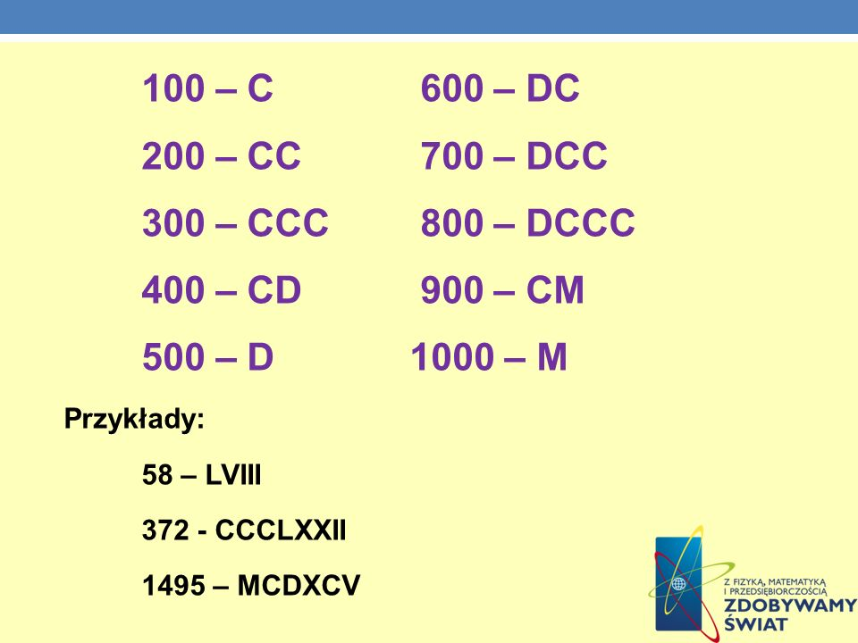 100 – C 600 – DC 200 – CC 700 – DCC 300 – CCC 800 – DCCC