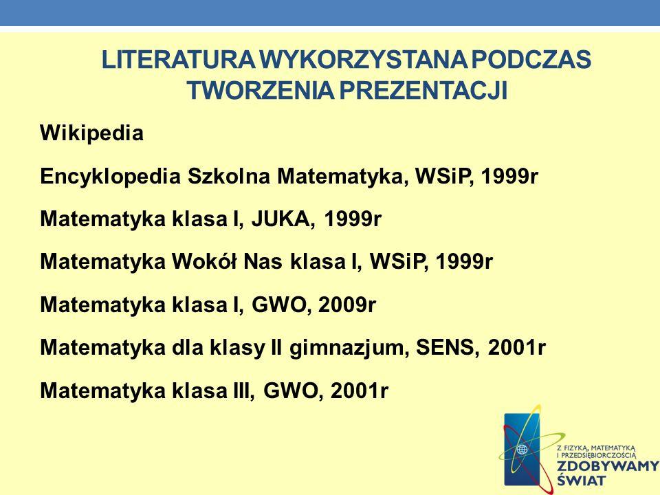 Literatura wykorzystana podczas tworzenia prezentacji
