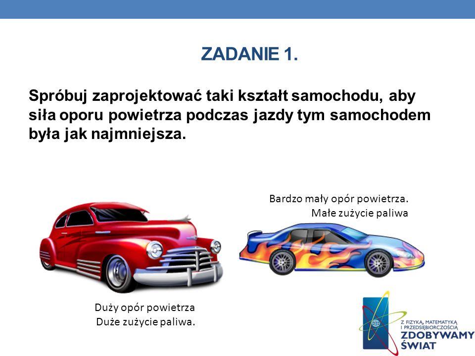 Zadanie 1. Spróbuj zaprojektować taki kształt samochodu, aby siła oporu powietrza podczas jazdy tym samochodem była jak najmniejsza.