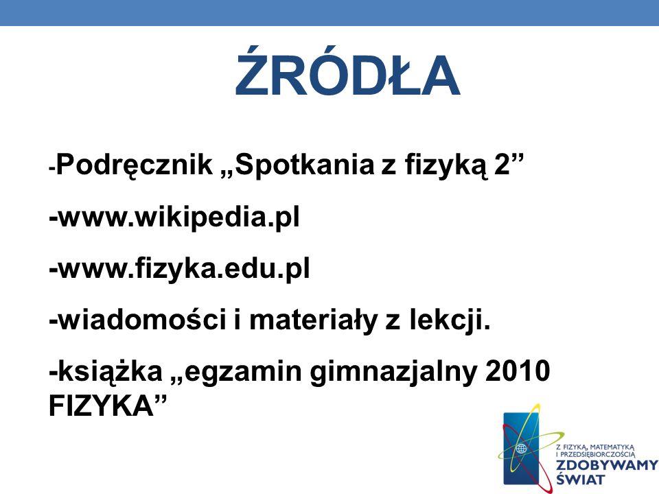 źródła -www.wikipedia.pl -www.fizyka.edu.pl