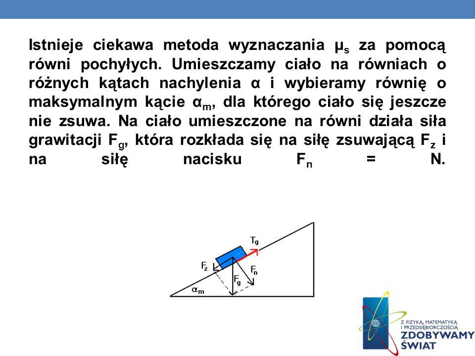 Istnieje ciekawa metoda wyznaczania μs za pomocą równi pochyłych
