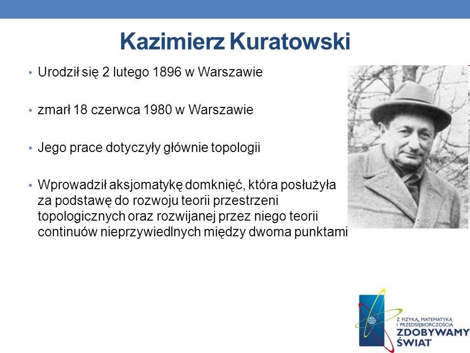 Kazimierz Kuratowski Urodził się 2 lutego 1896 w Warszawie