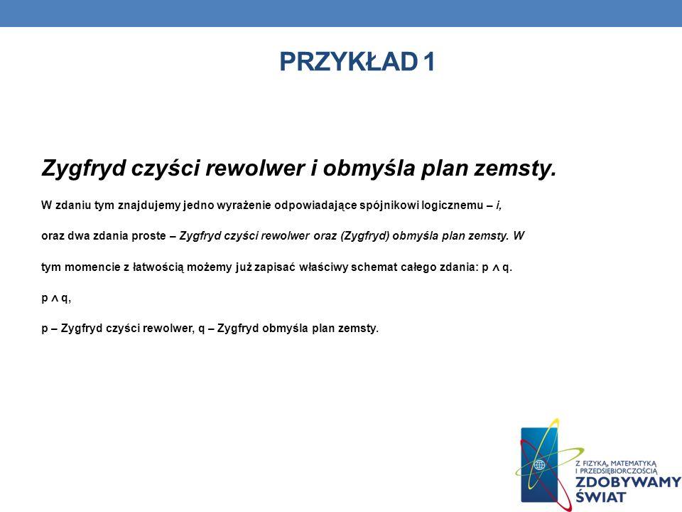 Przykład 1 Zygfryd czyści rewolwer i obmyśla plan zemsty.