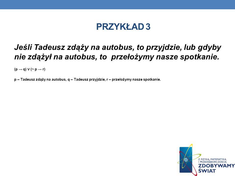 PRZYKŁAD 3 Jeśli Tadeusz zdąży na autobus, to przyjdzie, lub gdyby nie zdążył na autobus, to przełożymy nasze spotkanie.