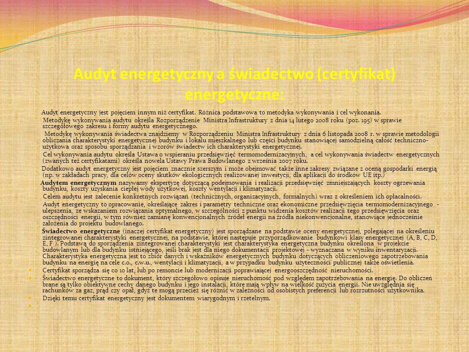 Audyt energetyczny a świadectwo (certyfikat) energetyczne: