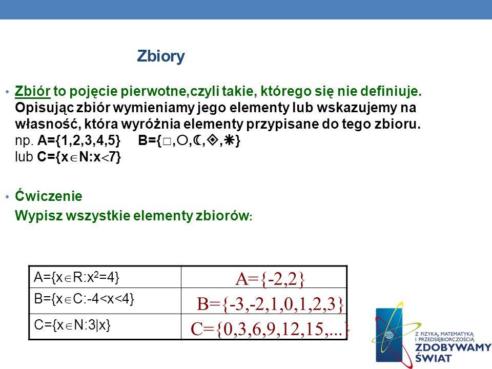 A={-2,2} B={-3,-2,1,0,1,2,3} C={0,3,6,9,12,15,...} Zbiory