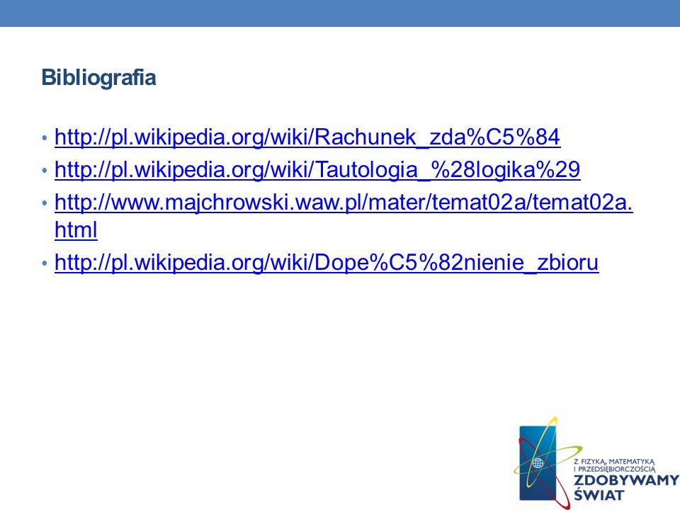 Bibliografia http://pl.wikipedia.org/wiki/Rachunek_zda%C5%84. http://pl.wikipedia.org/wiki/Tautologia_%28logika%29.