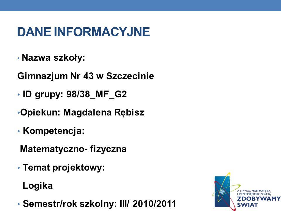 DANE INFORMACYJNE Gimnazjum Nr 43 w Szczecinie ID grupy: 98/38_MF_G2