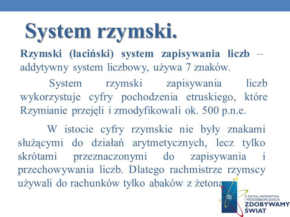 System rzymski.Rzymski (łaciński) system zapisywania liczb – addytywny system liczbowy, używa 7 znaków.
