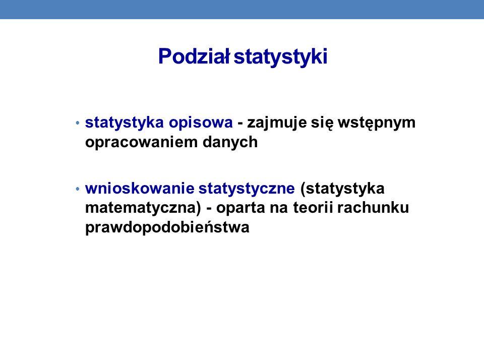 Podział statystyki statystyka opisowa - zajmuje się wstępnym opracowaniem danych.