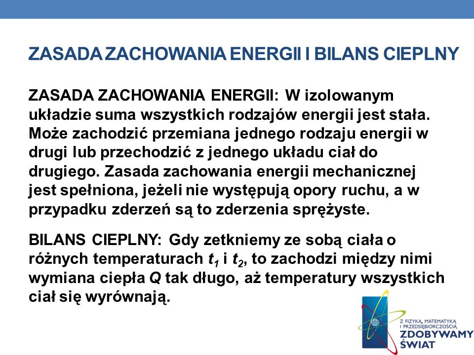 Zasada zachowania energii i bilans cieplny