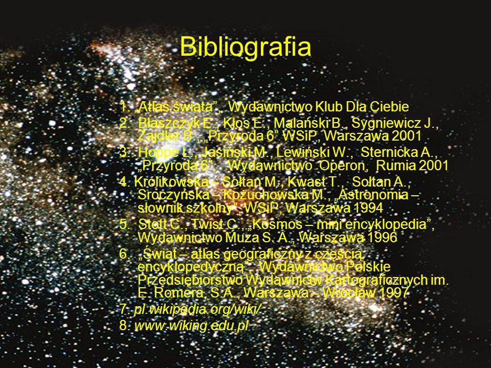 """Bibliografia 1. """"Atlas świata , Wydawnictwo Klub Dla Ciebie"""