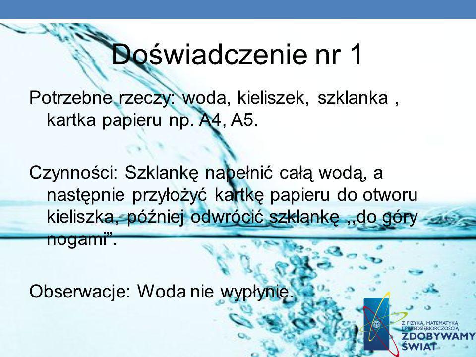 Doświadczenie nr 1 Potrzebne rzeczy: woda, kieliszek, szklanka , kartka papieru np. A4, A5.