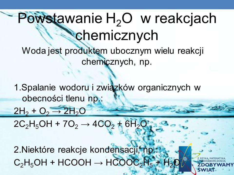 Powstawanie H2O w reakcjach chemicznych