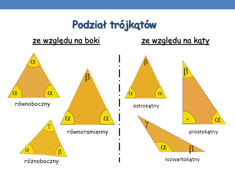 Podział trójkątów ze względu na boki ze względu na kąty równoboczny