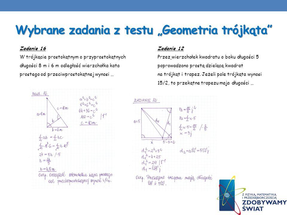 """Wybrane zadania z testu """"Geometria trójkąta"""