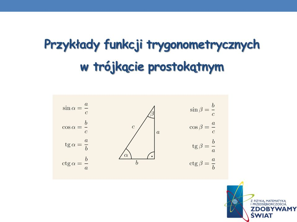 Przykłady funkcji trygonometrycznych w trójkącie prostokątnym